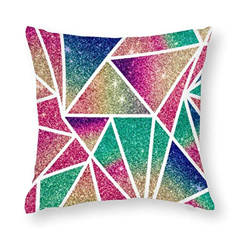 Multicolored Glitter Gradient Geometric Triangles Cotton Linen Blend Throw Pillow Covers Case Cushion Pillowcase with Hidden Zipper Closure for Sofa Bench Bed Home Decor 24'x24'