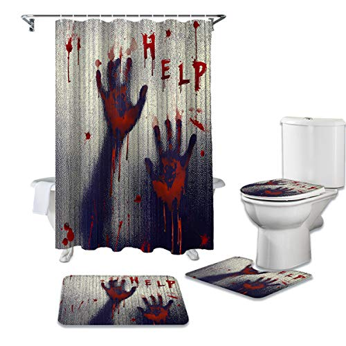 Shower Curtain Set with Bathroom Rugs Halloween Horrible Bloody Fingerprint Help Bloodstain Bathroom Rugs Set 4 Piece,Non-Slip Rugs,Toilet Lid Cover and Bath Mat,Waterproof Shower Curtain for Tub