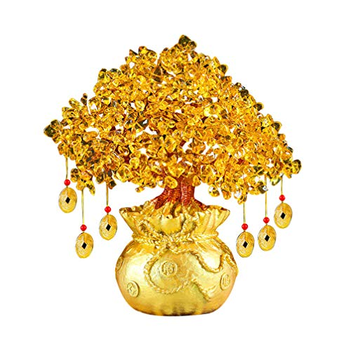 Vosarea 19 cm Cristal Natural Árbol Afortunado Adornos para el árbol del Dinero Bonsái Estilo Riqueza Feng Shui Adornos Decoración para el hogar (Amarillo)