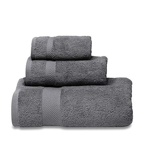 Heliansheng Juego de Toallas Suaves, Toalla de baño de algodón Puro, Calidad de baño súper Absorbente para Hotel -Dark Grey-3pcs