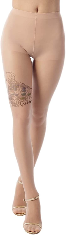 iB-iP Women's Stocking Peacock Tattoo Style 5 Den Ultra Sheer Tights Pantyhose