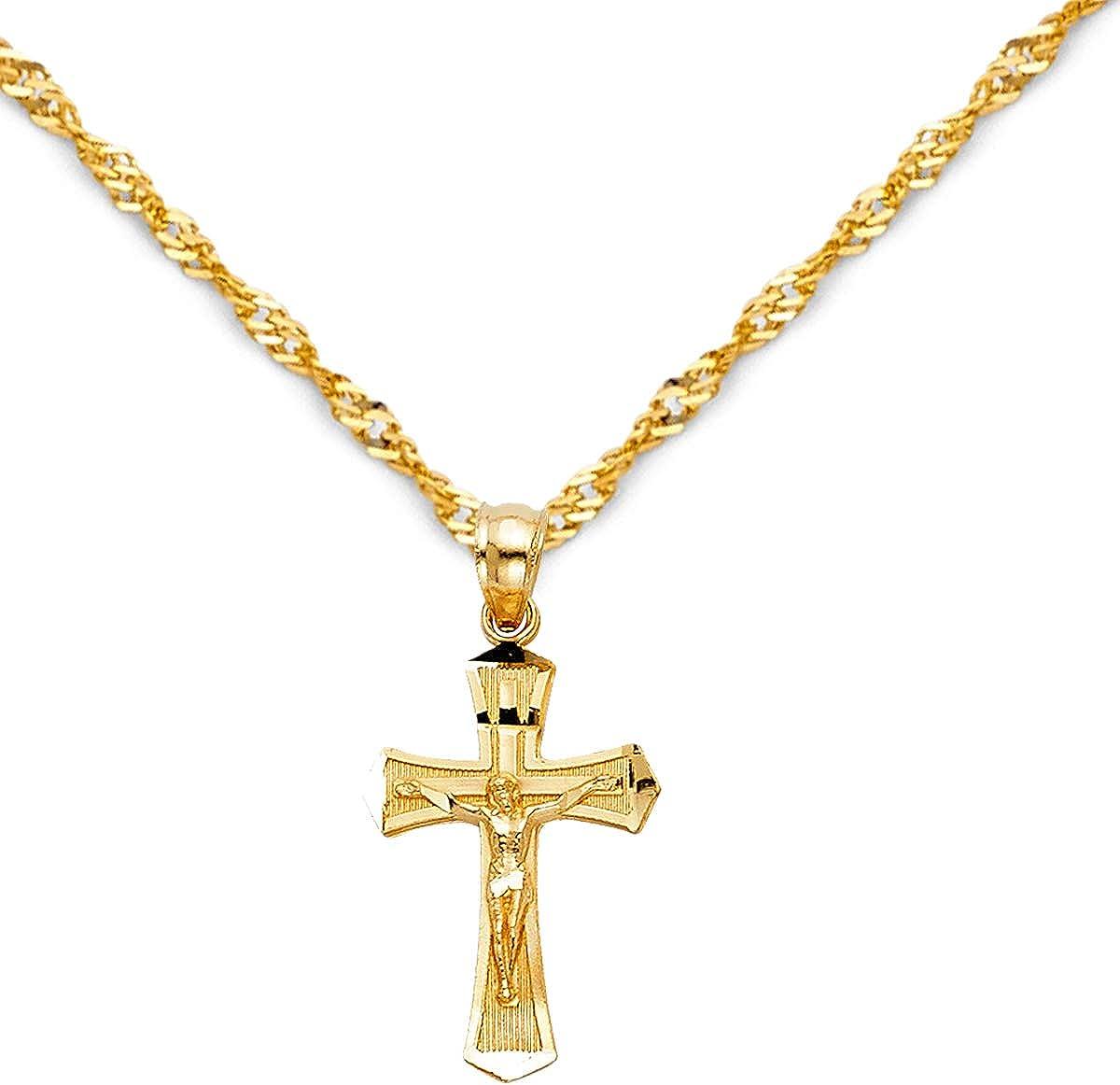 TGDJ 14k Yellow Gold Jesus Cross Religious Pendant with 1.2mm Singapore Chain Necklace