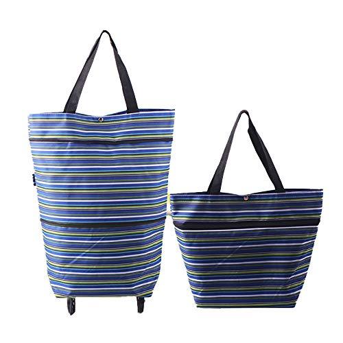 Toomett Faltbare Einkaufstasche mit Rollen, faltbare Einkaufstasche auf Rollen für Frauen, wiederverwendbar, multifunktional, Einkaufstasche, Reisetasche #7306 Blauer Streifen