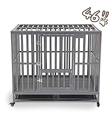 KELIXU Heavy Duty Dog Crate Large Dog cage Dog Kennels and Crates for Large Dogs Indoor Outdoor with Double Doors, Locks and Lockable Wheels?38in 42in 46in?…