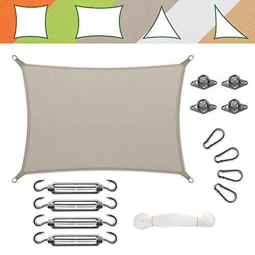 casa pura Voile d'Ombrage Rectangulaire - Toile + Kit de Fixation Inclus   Toile Ombrage Imperméable   Voile Résistante Pluie/UV en 7 Tailles   Grise - 5x7m + Accroche