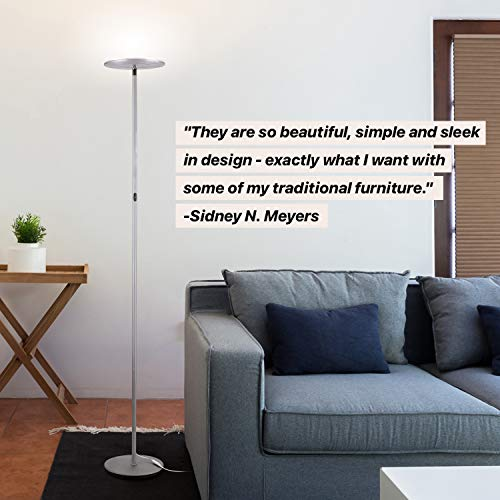 Study Bedroom LED Lamp for Living Room Dimmable Standing Lamp with 360 Degree Rotatable Rings 3-Level Brightness, Touch Control PHIVE LED Floor Lamp