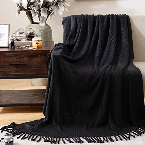 "jinchan Textured Throw Blanket with Tassels Solid Cozy Warm Soft Woven Blankets for Couch Sofa Bed Travel Indoor Outdoor Decorative Cable Knitted All Seasons Suitable - 50"" x 65"" Black"
