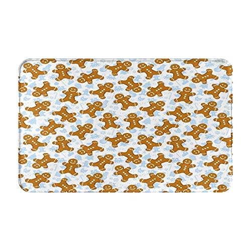 Alfombras de baño,alfombras de baño,Azulejo de patrón de Galleta de Navidad Tradicional de,Alfombras de baño de Ducha de Felpa Lavable Extra Suave Antideslizante 15.7'X23.5'