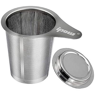 ipow Filtre à Thé avec Couvercle et Poignée/Infuseur à Thé à Trous Fins en Acier Inoxydable, pour Théière/Tasse/Mug/Verre- 6.12cm x 7.5cm