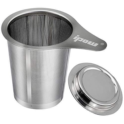 Ipow Colador de te fino con tapa / bandeja de goteo de acero inoxidable resistente - Adecuado para tazas y latas de 48 a 70 mm de diametro