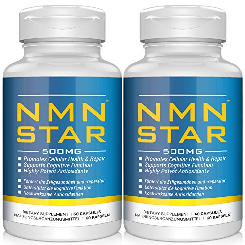 2020 Anti-Aging Champion,Ultra High Purity NMN Nicotinamide Mononucleotide Supplement, 500mg Capsule, Stabilized Form, Naturally Boost NAD+ Levels for Cellular Repair, 60 Count (1pack) (2pack)