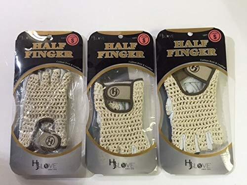 HJ Half Finger Golf Glove, Ladies Small, fits on Left Hand, 3-Gloves