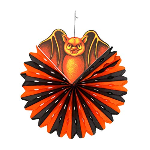 Party Hanging Paper Fans Set Halloween Bat Decorations Round Pattern Paper Garlands for Birthday Wedding Graduati. Qingchunw