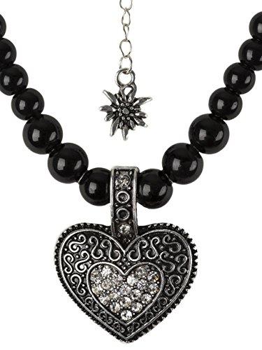 Collar de perlas con corazón grande y colgante de flor de las nieves en negro o blanco, piedras de estrás para traje regional tirolés y pantalones de cuero Negro Talla única