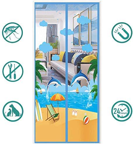 Klittenband anti muggen gordijn magnetische hordeur, scheidingsscherm raam, zomerhuis anti vliegen zelfabsorptie slaapkamer vrij van gaten, blauw