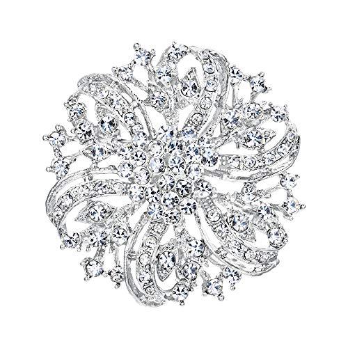 EVER FAITH Spilla Cristallo Austriaca Ispirato Fiore Matrimonio Elegante Spilla Trasparente Argento-Fondo