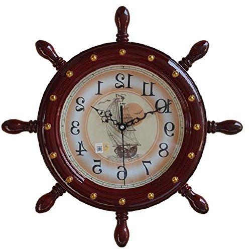HUANGYAHUI Despertador Al Timón Del Barco Lanza Reloj De Pared Relojes De Salón Grande Reloj De Pared Reloj De Cuarzo De Silencio, 20 Pulgadas De Caoba, Palisandro