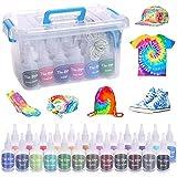 iClosam Kit de teñido anudado, 24 colores para camisa, kit de teñido anudado para niños, adultos, no tóxico, con bandas de goma, guantes para manualidades (60 ml/cada uno)