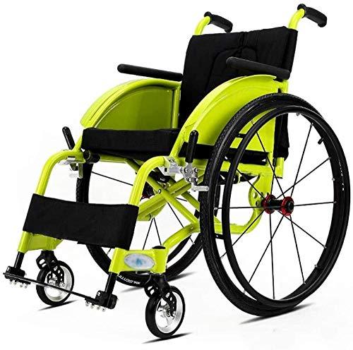 mjj Rollstuhl tragbarer Faltbarer Sport 3D-Stoßdämpfungshandbuch tragbarer faltsamer komfortabler Armlehnenrücken für ältere Menschen und der behinderte Pflegewagen