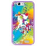 Funda Morada para [ Huawei Ascend G7 ] diseño [ Abstracto, Jugadores de fútbol Multicolores ] Carcasa Silicona Flexible TPU