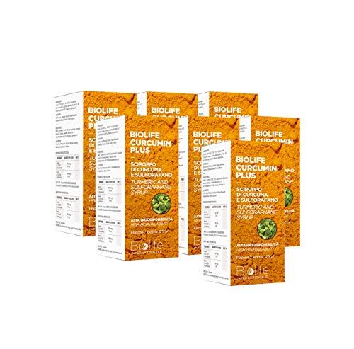 Sciroppo di Curcuma| Biolife Curcumin Plus [Pacchetto da 7 confezioni] | Flacone da 125ml| Curcuma e Sulforafano| Prodotto 100%