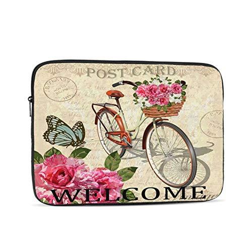 Funda para portátil Patrón de Mariposa de Bicicleta de Flores Vintage Bolsa Protectora portátil con Cremallera para Tableta, Bolsa Protectora para computadora portátil, Negro