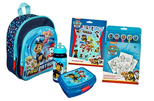 Paw Patrol Kindergartenrucksack Set 5-TLG. mit Rucksack, Brotdose, Trinkflasche, Sticker Set und Ausmalblock mit Buntstiften, blau (hellblau)