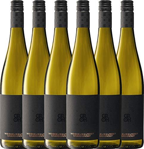 VINELLO 6er Weinpaket Weißwein - Grohsartig Weißburgunder Chardonnay 2020 - Groh mit Weinausgießer   trockener Weißwein   deutscher Sommerwein aus Rheinhessen   6 x 0,75 Liter