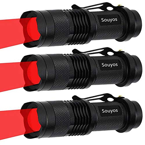 3 Pack Red Light Flashlight,3 Modes Red Led Flashlight,Zoomable Long Range Red Hunting Light Red Flashlight Torch with Clip for Hunting,Detector,Night Observation, Night Detecting-Black House