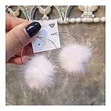 J Meng Mink Fur Plush Hoop Earrings Endless Circle Earrings for Girl Women