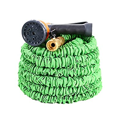 Expandable Garden Hose, Ohuhu 75 Feet Strong Expanding Garden Hose, 75 ft Water Hose with All Brass Connector & 8-Pattern High Pressure Spray Nozzle