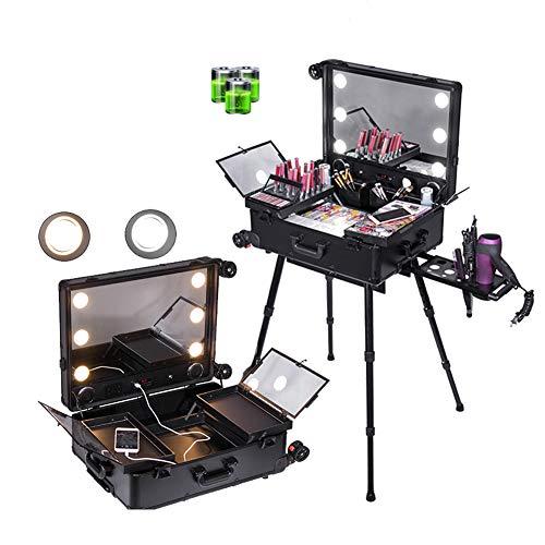 ZZSQ 4 en 1 Peluquería Maquillaje Vanity Case Gran Pantalla Completa Espejo Iluminado Mesa de Tren portátil Estuche Estación de Maquillaje Vanity Cosmetic Trolley,Negro