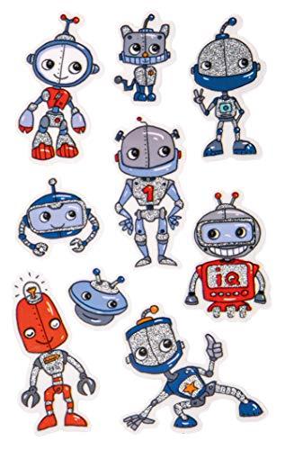 AVERY Zweckform 57291 Glittersticker, robot, 9 stickers (zelfklevende kleurrijke kinderstickers om te spelen, knutselen, verzamelen, voor vriendschapsboeken en poëziealbums