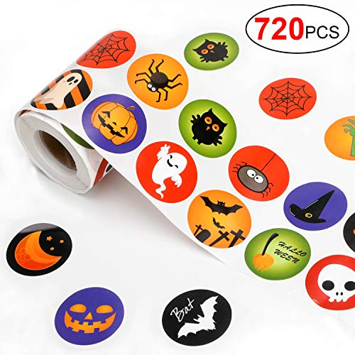Qpout 720pcs Halloween Roll Pegatinas Calabaza Pegatina Roll Scrapbooking Card Envelopes Stocking Stickers Party Bag Filler for Halloween