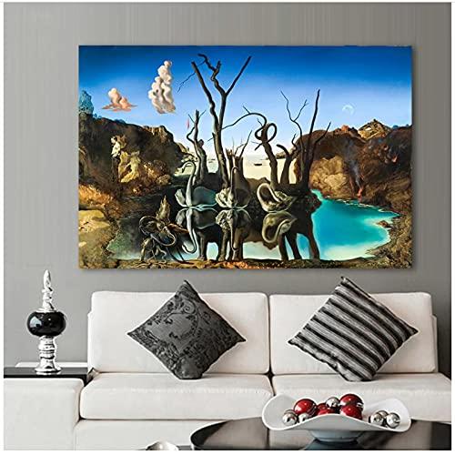 QIAOB Affiche sur Toile, cygnes reflétant Les éléphants par Salvador Dali Peinture sur Toile Affiches abstraites Imprime Art Mural pour Salon Pas de Cadre