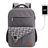 Travel Laptop Backpack 15.6 Inch Lekesky Women Backpack with USB Charging Port Water Resistant College School Computer Bag for Business Men Laptop and Notebook, Grid grey