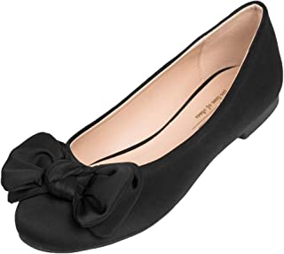 Women's Round Toe Cute Bow Trim Ballet Flats