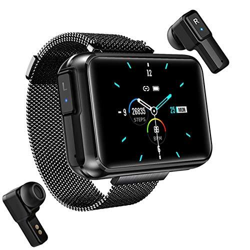 YDZ T91 2 En 1 TWS Wireless Bluetooth Headst Smart Watch para Hombres 1,4 Pulgadas Gran Pantalla De Bricolaje Bluetooth 5.0 Fitness Tracker Smartwatch (para Teléfonos iOS De Android),F