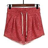 Pantalones Cortos Holgados elásticos cómodos Casuales para Mujer Pantalones Cortos Deportivos de Entrenamiento para Correr Salvajes Simples de Verano con cordón Ajustable Large