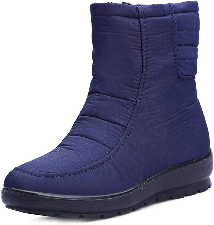 GIY Women's Waterproof Winter Snow Ankle Boots Warm Fur Side Zipper Short Boots Casual Rain Snow Booties