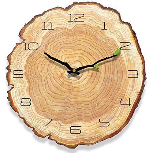 Yoillione Küchenuhr Retro Wanduhr Holz Modern Ohne Tickgeräusche, Arabisch Wall Clock Vintage Wanduhr Shabby Uhr Wand Holz Wanduhren Landhausstil für Wohnzimmer, Küche, Schlafzimmer,Jahresring Design