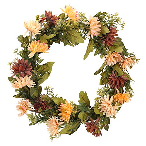 Artificial Mum Wreath with Multicolor Flowers and Green Leaves