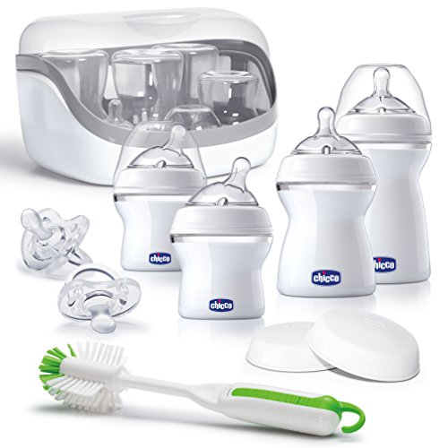 Chicco NaturalFit Baby Bottles All You Need Starter Set with Bottle Sterilizer, Bottle Brush,...