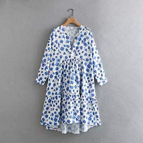 DAIDAILYQ Moda Azul Estampado Floral Causal Vestido Asimé