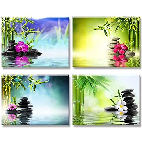 Piy Painting Cuadro en Lienzo en on Canvas SPA Yoga Piedra Bambú Verde Pinturas murales Decoración Impresiones de Lienzo Sala de Estar Cocina Dormitorio 30x40cm 4units