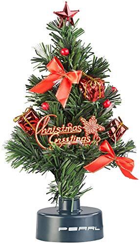 PEARL USB Tannenbaum: USB-Weihnachtsbaum mit LED-Farbwechsel-Glasfaserlichtern (Mini Weihnachtsbaum fürs Auto)