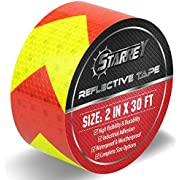 Starrey Reflective Tape Red & Yellow 2 IN X 30 FT Waterproof Self Adhesive Trailer Safety Caution Reflector Conspicuity Tape for Trucks Cars