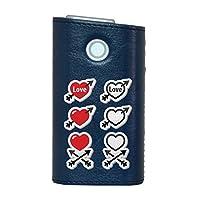 glo グロー グロウ 専用 レザーケース レザーカバー タバコ ケース カバー 合皮 ハードケース カバー 収納 デザイン 革 皮 BLUE ブルー その他 ハート イラスト 006568