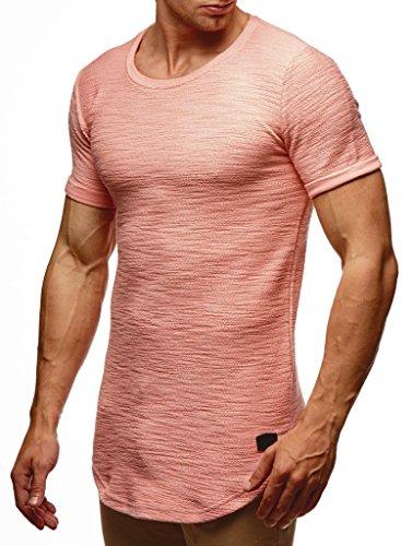 Leif Nelson Camiseta para Hombre con Cuello Redondo LN-6324 Rosa Salmón Large