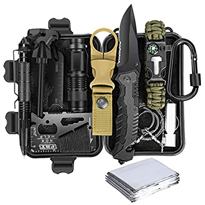 Lanqi Gifts for Men, Emergency Survival kit 14 in 1, Survival Gear, Tactical Survival Tool for Cars, Camping, Hiking, Hunting, Fishing (Survival kit 2)